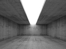 Concrete room interior with opening in ceiling, 3d. Abstract architecture background, empty concrete room interior with white opening in ceiling, 3d illustration Royalty Free Stock Images