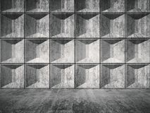 Concrete room interior with relief tiling 3d. Abstract empty concrete room interior with decorative relief tiling on one wall, front view, 3d render illustration Stock Photos