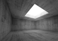 Concrete room interior with white opening in ceiling, 3d. Abstract architecture background, empty dark concrete room interior with white opening in ceiling, 3d royalty free illustration
