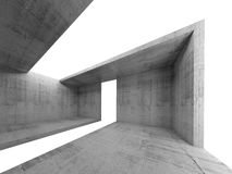 Concrete room interior with white opening 3d. Abstract architecture background, empty concrete room interior with white opening in ceiling, floor and walls, 3d Royalty Free Stock Photography