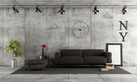 Concrete room with leather sofa Royalty Free Stock Photos