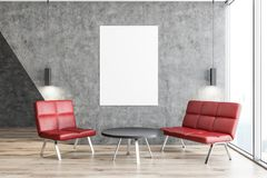 Concrete room with red armchairs, poster Stock Image