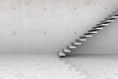 Concrete room with stairs. Modern concrete empty room with stone stairs