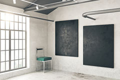 Concrete room with two chalkboards. Side view of concrete room interior with chair, window and two empty chalkboards on wall. Mock up, 3D Rendering Royalty Free Stock Image
