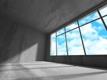 Concrete room wall construction on cloudy sky background Royalty Free Stock Images