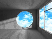 Concrete room wall construction on cloudy sky background Stock Image