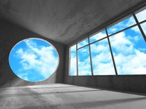 Concrete room wall construction on cloudy sky background Stock Photos
