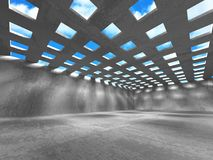 Concrete room wall construction on cloudy sky background. 3d render illustration Royalty Free Stock Images