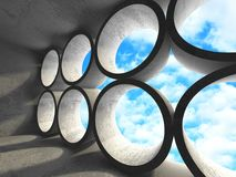 Concrete room wall construction on cloudy sky background. 3d render illustration stock illustration
