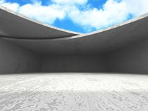 Concrete room wall construction on cloudy sky background. 3d render illustration royalty free illustration