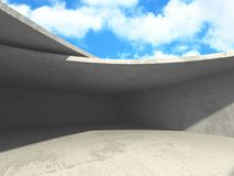 Concrete room wall construction on cloudy sky background. 3d render illustration Royalty Free Stock Photos