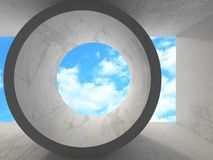 Concrete room wall construction on cloudy sky background. 3d render illustration Stock Photo