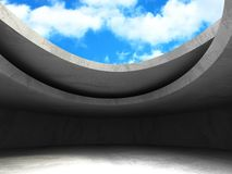 Concrete room wall construction on cloudy sky background. 3d render illustration Stock Images