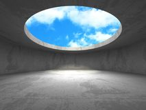 Concrete room wall construction on cloudy sky background. 3d render illustration Royalty Free Stock Photography