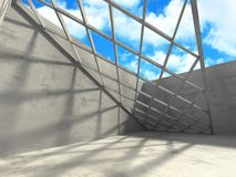 Concrete room wall construction on cloudy sky background. 3d render illustration Stock Photography