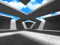 Concrete room wall construction on cloudy sky background. 3d render illustration Stock Photos