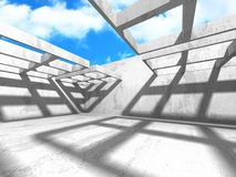 Concrete room wall construction on cloudy sky background. 3d render illustration Royalty Free Stock Photo