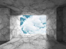 Concrete room wall construction on cloudy sky background Royalty Free Stock Photography