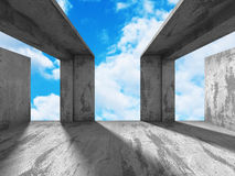 Concrete room wall construction on cloudy sky background Stock Images