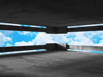 Concrete room wall construction on cloudy sky background Stock Photography
