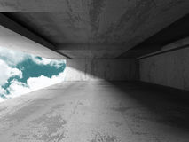 Concrete room wall construction on cloudy sky background Royalty Free Stock Photo