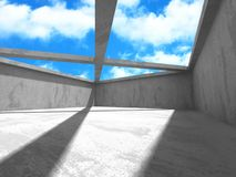 Concrete room wall construction on cloudy sky background Royalty Free Stock Photos