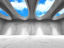 Concrete room wall construction on cloudy sky background. 3d render illustration Stock Image