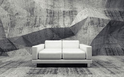 Concrete room with white leather sofa, 3d. Abstract interior, concrete room with white leather sofa, 3d illustration Stock Photos