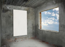 Concrete room with window Royalty Free Stock Photos