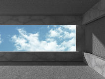 Concrete room with window to sky. Abstract architecture backgrou Royalty Free Stock Photos