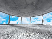Concrete room with window to sky. Abstract architecture backgrou Royalty Free Stock Photography