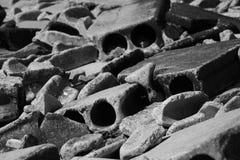 Concrete Rubble. Monochrome version - Concrete Rubble Pile - Lines and Curves Stock Photos