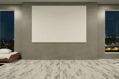 Concrete ruimte met lege banner Stock Afbeelding