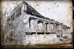 Concrete ruins in industrial district Royalty Free Stock Image