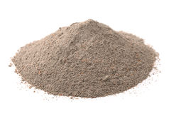 Concrete sand mix. Pile of concrete sand mix isolated on white stock images