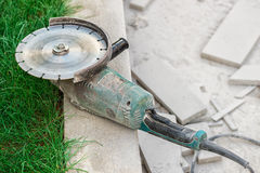 Concrete Saw Cutting Royalty Free Stock Photography