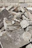 Concrete scrap. A pile of broken concrete pieces ready to go to a dump for construction materials Stock Photo