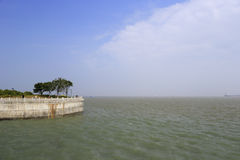 Concrete seawall Royalty Free Stock Images