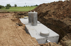 Concrete septic holding tanks Royalty Free Stock Images