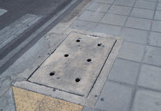 Concrete Sewer Cover Royalty Free Stock Photo