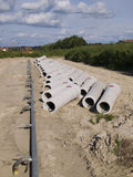 Concrete sewer pipes. Are ready to be covered with soil Royalty Free Stock Photos