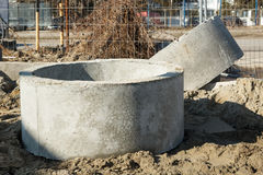 Concrete shaft manhole rings Royalty Free Stock Photography