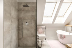 Concrete shower in bathroom Royalty Free Stock Images
