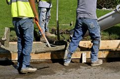 Concrete sidewalk and curb repair stock photography