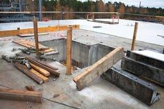 Concrete site. Concrete basics for equipment erection Stock Photos