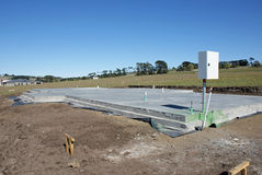 Concrete Slab. Foundation for house build stock photography