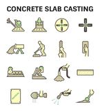 Concrete slab casting. And floor vector icon sets stock illustration