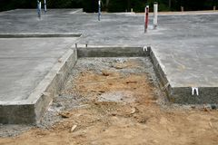 Concrete Slab New House Stock Images