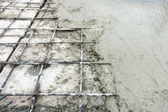 Concrete slab paving on hollow core slab flooring., Business construction. Royalty Free Stock Photography