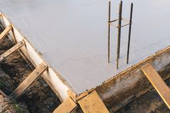 Concrete slab with steel reinforcement bars Royalty Free Stock Images